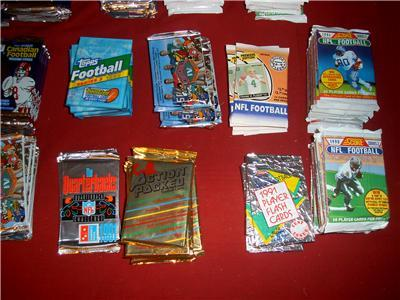 HUGE BOX 500 OLD UNOPENED FOOTBALL WAX PACKS CASE LOT