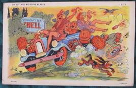 1936 Curt Teich White Border, Linen Era, Prohibition Cartoon - $10.00