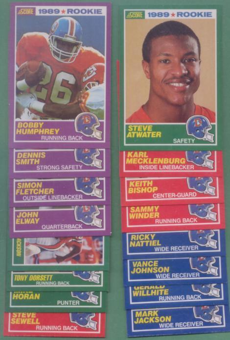 1989 Score Denver Broncos Football Team Set