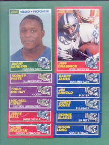 1989 Score Detroit Lions Football Set