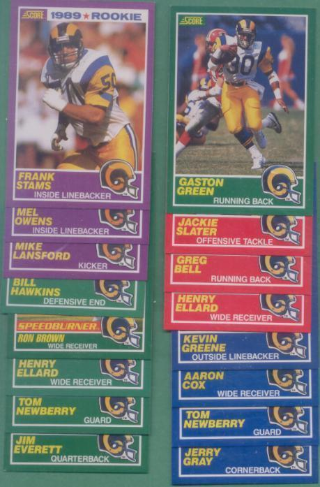 1989 Score Los Angeles Rams Football Set