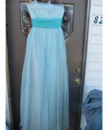 1950  Strapless  2 Tone blue/ turquoise   long CHIFFON  sequin  evening ... - $45.00