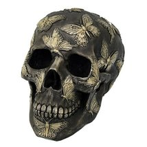 Skull Engraved with Butterflies Gothic Collectible Desktop Figurine Gift... - £18.22 GBP