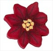 "Small Poinsettia 2284s handmade clay button .75"" JABC Just Another Button - $2.00"
