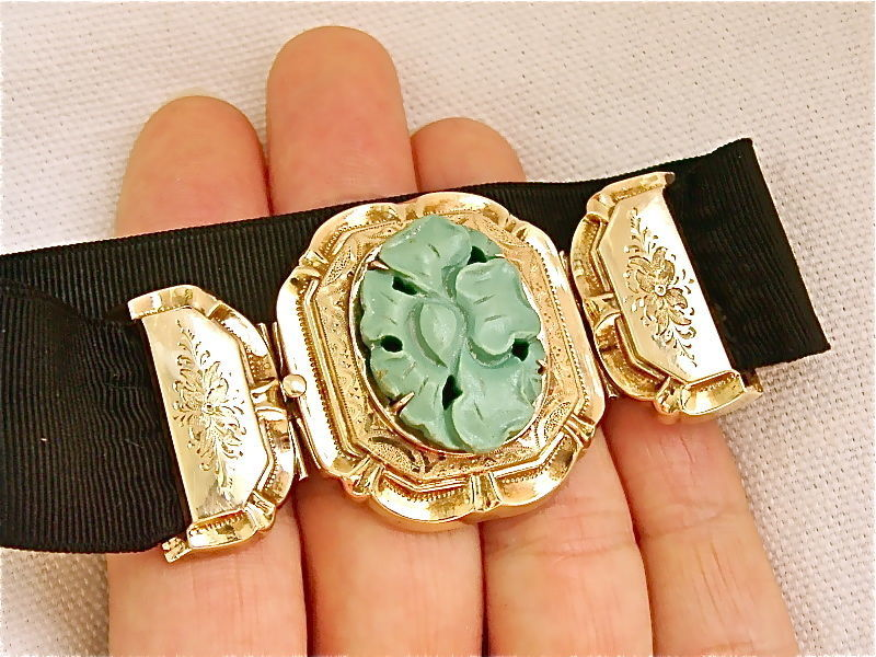 VICTORIAN LARGE CARVED TURQUOISE FLOWER YELLOW 14K FRAME RIBBON BRACELET c1880