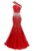 Mermaid Beaded Evening Dresses for Women One Shoulder Tulle Prom Dresses... - $175.00