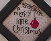 A Merry Little Christmas Finished Cross Stitch framed 4x4