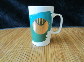 2014 Starbucks Gold Dot Green & Teal Watercolor Tall Coffee Mug Tea Cup ... - $15.99
