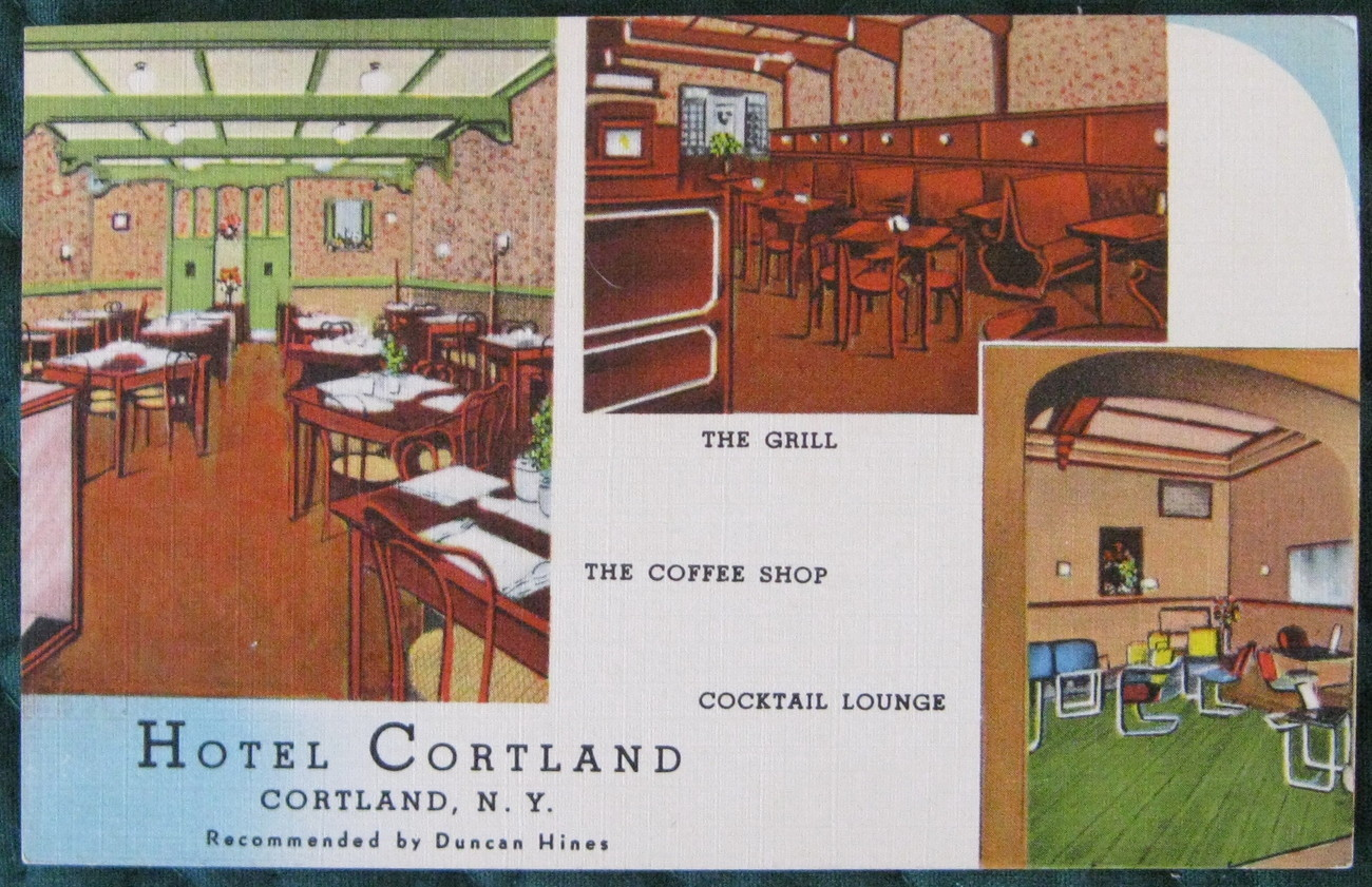 Jubb, Full Bleed, Linen era Post Card, Hotel Cortland advert