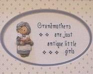 Grandmothers Antique Girls Finished Cross Stitch framed 5x7