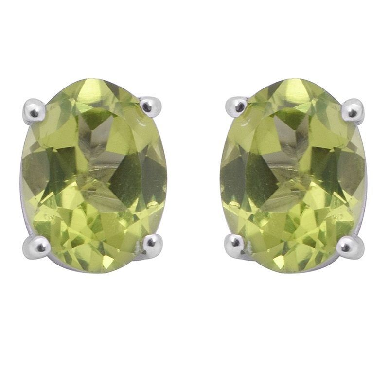 Oval Peridot Gemstone 925 Sterling Silver Prong Setting Stud Earring SHER0337