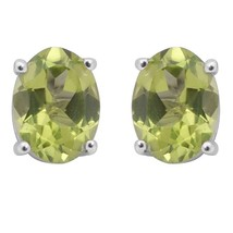 Oval Peridot Gemstone 925 Sterling Silver Prong Setting Stud Earring SHE... - $19.58