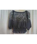 ONYX Nite Blouse Sz XL Gray Sequinced Smocked Waist Evening Cocktail Blouse - $79.17
