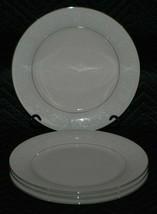 "Ivory Fantasy China Set of 4 Dinner Plates 10 1/2"" White Flowers Platinu... - $17.99"