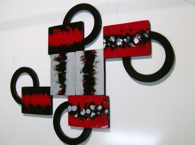 Set of 2 Red Black and Silver Abstract Art Versatile Wood Wall Sculpture hanging