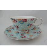 Gracie China Floral Chintz Porcelain Cup & Saucer with gold rim & trim B... - $14.84
