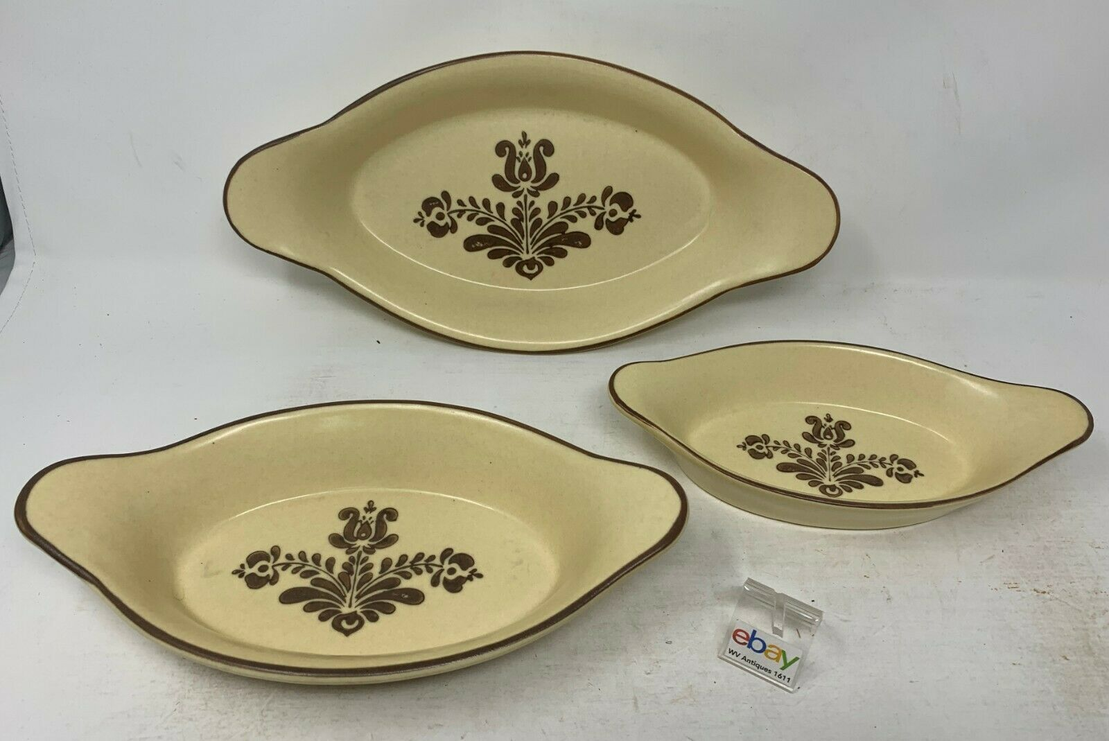 "Set of 3 Pfaltzgraff ""Village"" USA Au Gratin Baking Dishes - Small, Medium, Lg ! - $26.99"