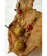 Autumn Breeze earrings: yellow orange beads & natural, yellow snail shell - $43.00