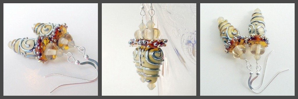Handmade lampwork dangle earrings.