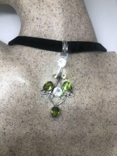 Vintage Peridot Silver Necklace White Sapphire Choker