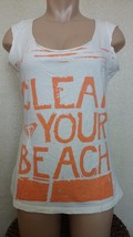 "Roxy ""CLEAN YOUR BEACH"" 100% Organic Cotton Tee Size Large MADE IN USA - $20.00"