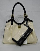 SET of Brahmin Elisa Satchel/Shoulder Bag Ivory Tri-Texture + Checkbook ... - $549.00