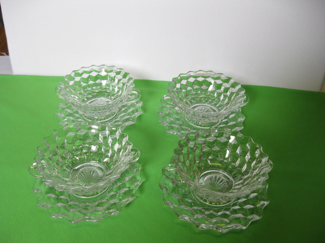 Elegant Fostoria Glass American Clear Four (4) Cream Soup Bowls, Plates USA