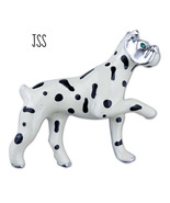 White Doggie with Black Spots Green Eyes Brooch - $9.99