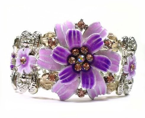 Bracelet purple fancy crystal daisies