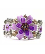 Floral Crystal  Bangle Panel Bracelet Enameled Purple lavender New - $24.99