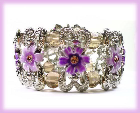 Floral Crystal  Bangle Panel Bracelet Enameled Purple lavender New