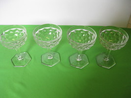"Fostoria Glass American Four Clear 4 3/4"" Square Foot Sherbets  USA - $39.99"