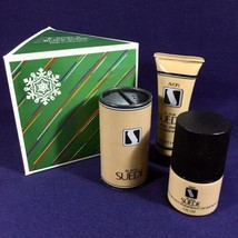 Vintage 1984 Avon BLACK SUEDE Christmas Gift Collection 3 Piece Set  - $93.46
