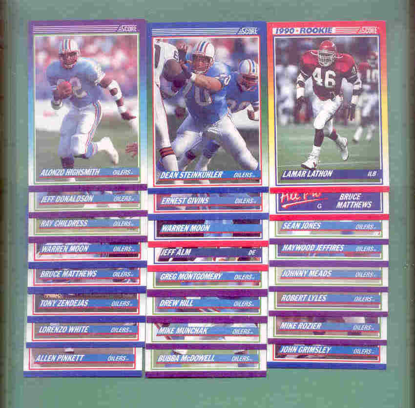 1990 Score Houston Oilers Football Team Set