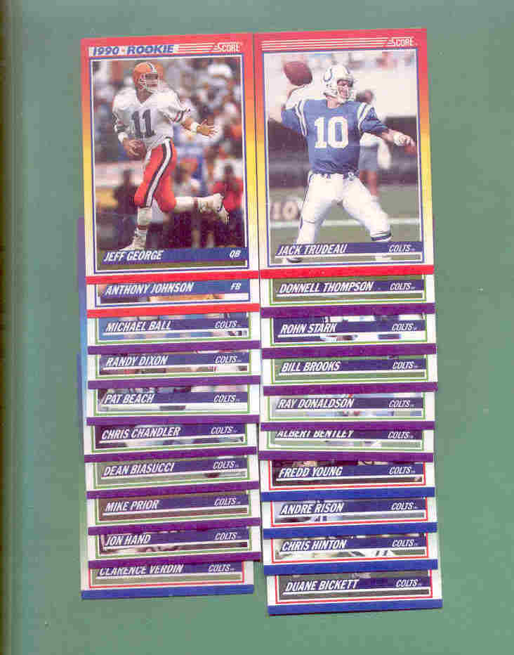 1990 Score Indianapolis Colts Football Team Set