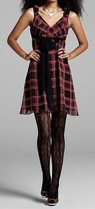 NWT BETSEY JOHNSON Red & Black Plaid Silk Wrap Dress Size 2 NEW (MAKE AN OFFER)