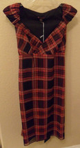 Nwt Betsey Johnson Red & Black Plaid Silk Wrap Dress Size 2 New (Make An Offer) - $169.29