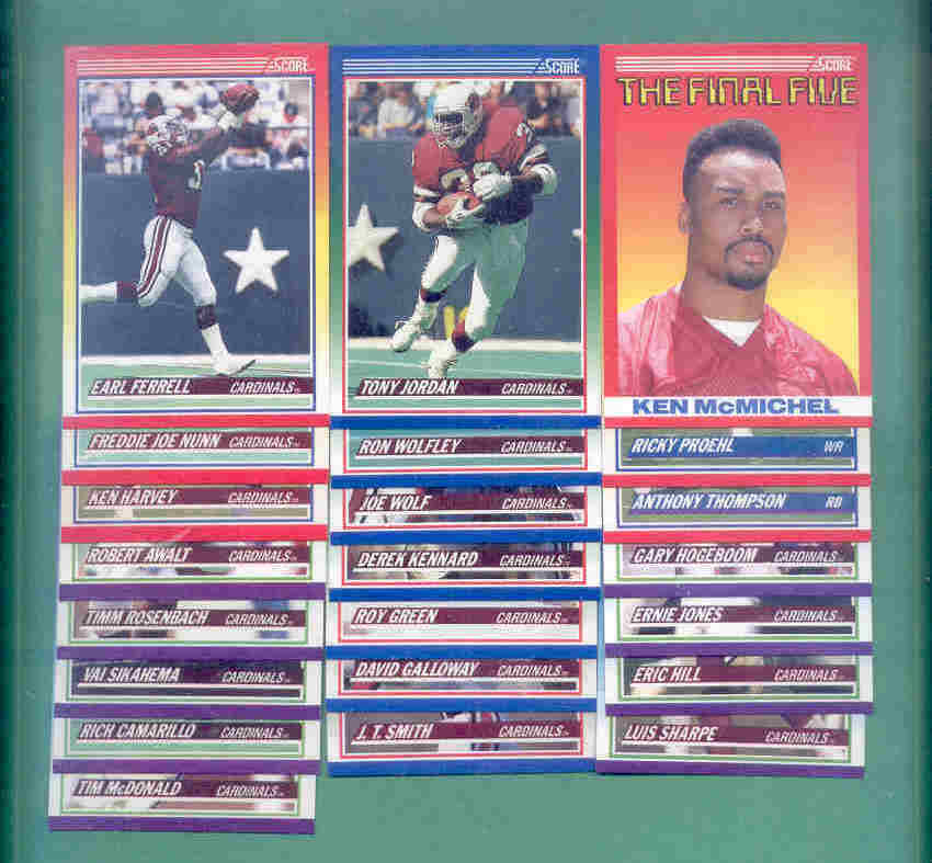 1990 Score Phoenix Cardinals Football Team Set
