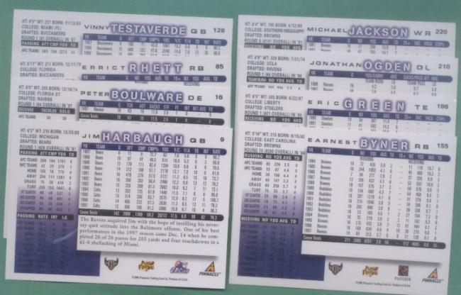 1998 Score Baltimore Ravens Football Team Set