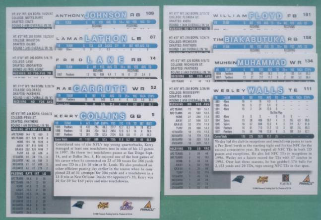 1998 Score Carolina Panthers Football Team Set