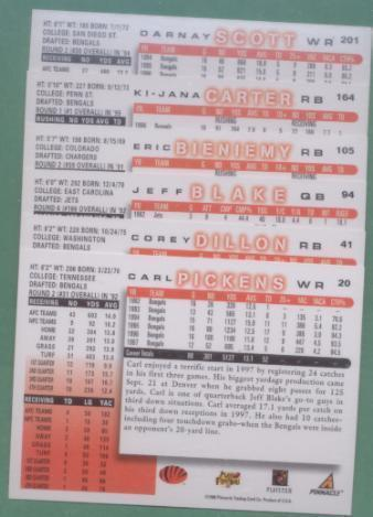 1998 Score Cincinnati Bengals Football Set