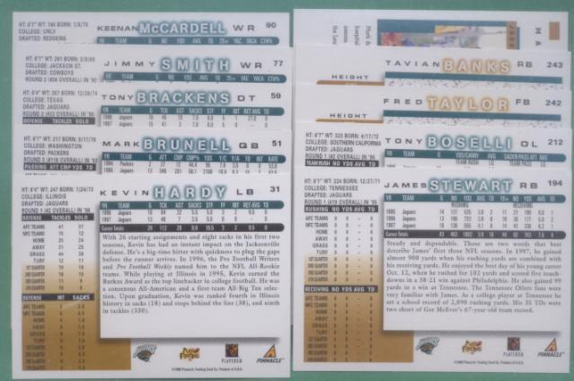 1998 Score Jacksonville Jaguars Football Team Set