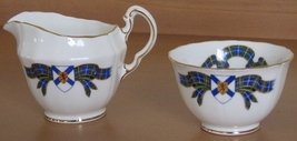 Adderley Cream Sugar Bowl Nova Scotia Tartan Fine Bone China England Gol... - $15.93