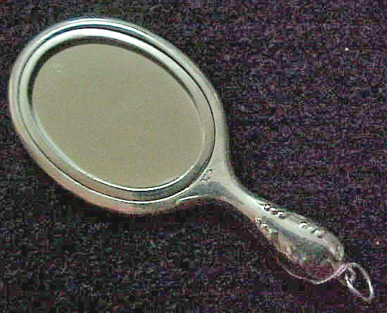 Sterling Silver Hand Mirror NEW Art Nouveau - 2  3/4 inches