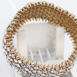 Gold Flexible Swarovski Crystal bracelet 3.2cm width New wit