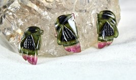 NATURAL MULTI TOURMALINE CARVED 3 PCS 28.26 CARATS GEMSTONE FOR DESIGNING - $332.50