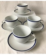 Set of 4 Brasserie Blue Williams Sonoma Cups and Saucers with Cobalt Stripe - $39.95