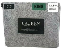 Ralph Lauren 100% Cotton 4pc white /gray Kaleidoscope Sheet Set - King - $98.99