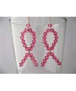Awareness Pink Crystal Ribbon Earrings Handmade by Chula - $33.00