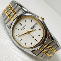Citizen Quartz CQ Men's Two Tone Day Date Bracelet Watch 1100-B00373 Wor... - $69.25